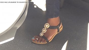 covert webcam luxurious dark-hued feet on teach -.