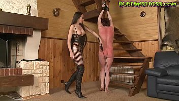 mean domina spanking bound up stud