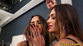 sensuous trans hottie strokes rock-hard knob.