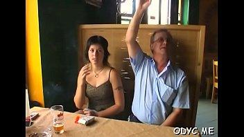mischievous teenage taunts elder dude by caressing her.