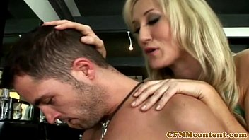 Femdom milfs in CFNM group suck and ride sub