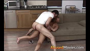 large titted dark-hued-haired getting couch manhandled.