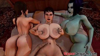 GamerOrgasm.com | Big Ass Lara Corft Threesome Milf