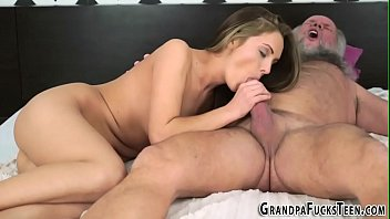 Teen sucking off old dude