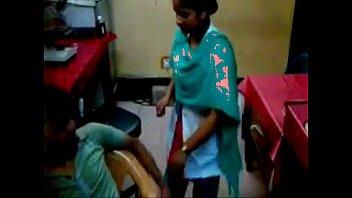 technician finguring girl nurse in clinic