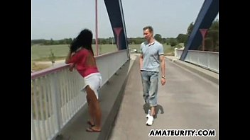 Busty German MILF Sucks and Fucks Outdoor on a Bridge