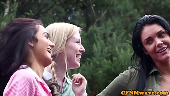cockhungry cfnm honeys give hand-job outdoors