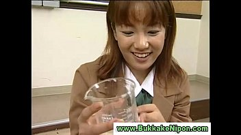 Real amateur japanese babe drinks cum in reality groupsex