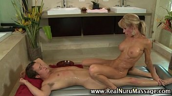 Blondie sucks on soapy fetish cock