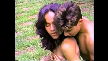 Lusty brunette tranny gets her ass licked and fucked by a hunk on the grass