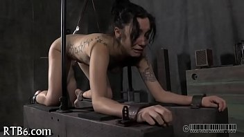 Tying up cutie for wild punishment