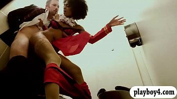 afro hair black stewardess gets rammed in the wc