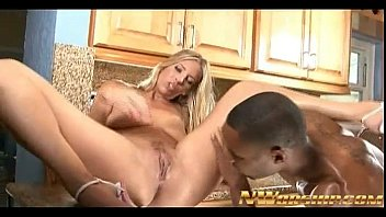 blonde milf fucked in the kitchen by big black cock and cumshot