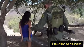 Fake border agent arrests hot brunette Latina and bangs her wet pussy hard