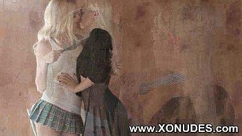 2 blondie girl-girl teenager women smooching