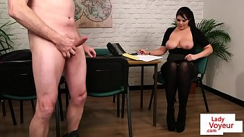 large-titted stunner instructs boy to tug.