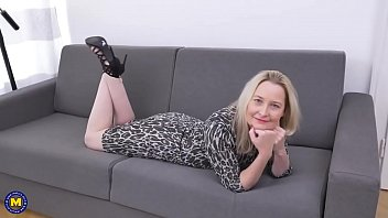 silver-blonde mature touches her gash on.