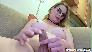 spex t-girl with bigtits fapping solo