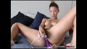 japanese gal plays two dildoes in gash and.