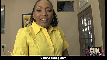 ebony dame blows group of milky.