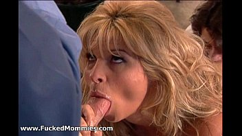 Sexy blonde mommy suck and fuck two big dicks
