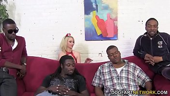 Devil Sara Monroe Gets Gangbanged by Big Black Cocks