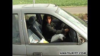 Amateur mom with big tits sucks and fucks in her car