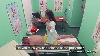 physician gets rubdown from warm nurse