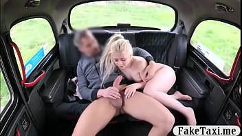 Cute blonde babe drilled by the driver