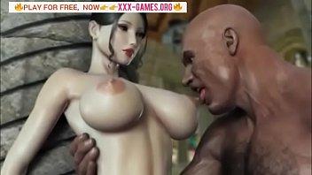 good-sized titties korean chick with meaty ebony bone.