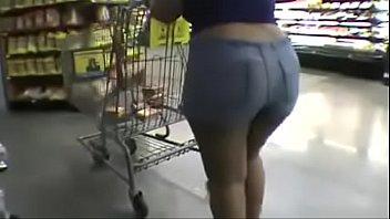 ebony butt in cut-offs shoping phat ass milky.