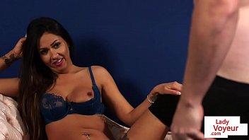 British lingerie voyeur watchers her sub jerk