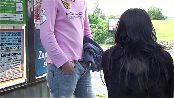 Young girl with big tits fucked hard in PUBLIC bus stop