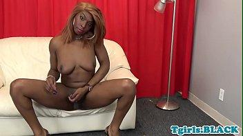 supah-cute dark-hued trans cutie faps her.
