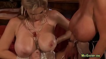 massive-titted cougar lesbos share glass faux-cock