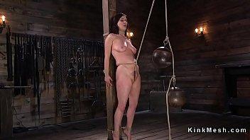 Natural huge tits slave gets crotch rope