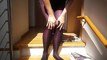 luxurious damsel with gorgeous gams putting on 8.