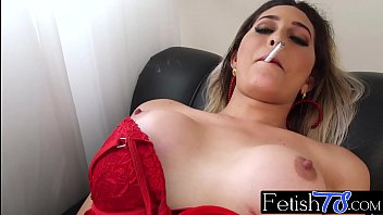 transsexual honey bellatrix smokes and masturbates her erected donger