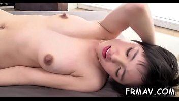 chinese playgirl fucktoys her vagina before providing randy.