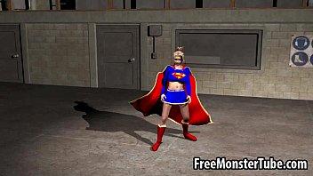 foxy 3 dimensional toon supergirl railing a rigid schlong