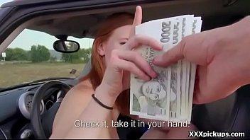 Amateur teen sucks and fuck big dick in public for money 23