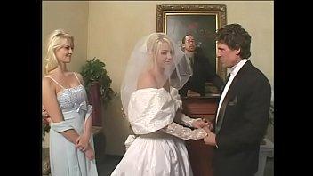 fetish bride in satin wedding sundress gets a.