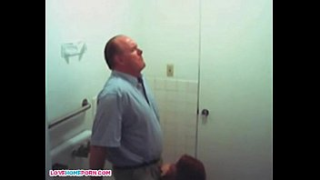 Older guy getting blowjob by teen girl on toilet