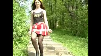 insane chick urinating in the forest