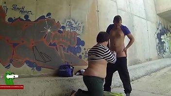 slurping her boy039_s beefstick in a covert street adr0263