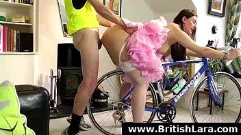 Anal fucking for brunette British MILF in stockings
