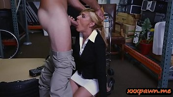 Blonde milf gets pounded by pawn man in storage room