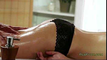 Busty brunette fucked on massage table
