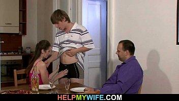 hubby witnesses his warm wifey cuckolds
