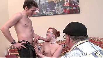 puny jugged french ginger-haired gets a hefty rod.